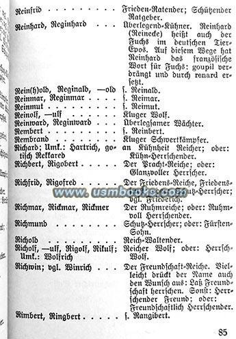 Nazi Treatise GERMAN CHILDREN - GERMAN NAMES