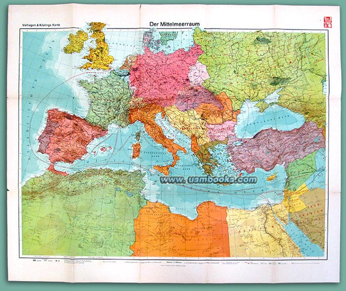 1940 Nazi Color Map of Europe and North Africa