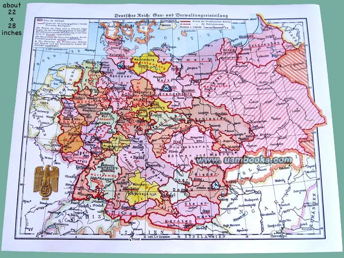Nazi gau map of third reich germany nazi germany map altavistaventures Images