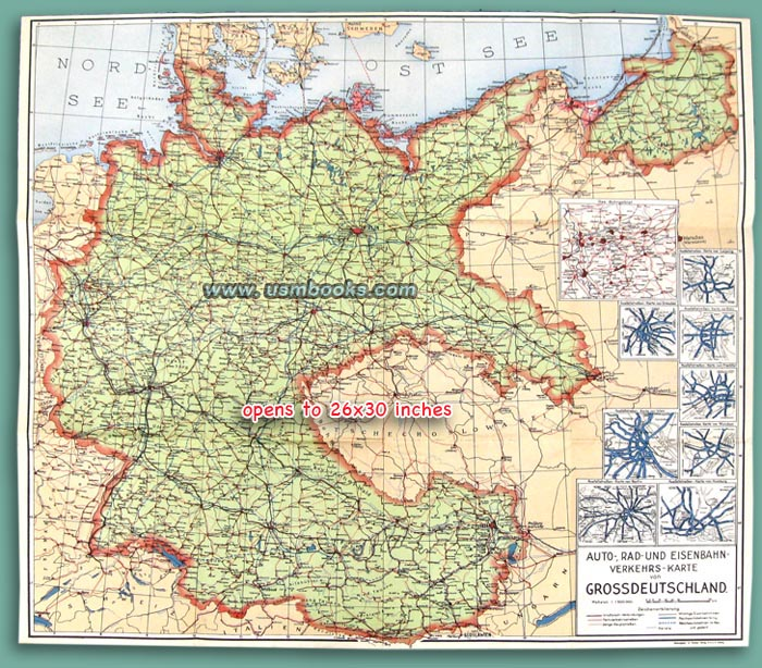Original Nazi Traffic Map Of Greater Germany