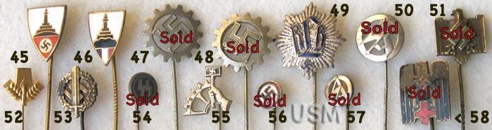 Nazi Stickpins / Nazi Lapel Pins