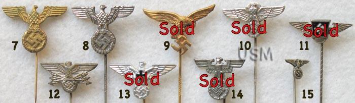 Nazi Eagle Stickpins, Medal Lapel Pins